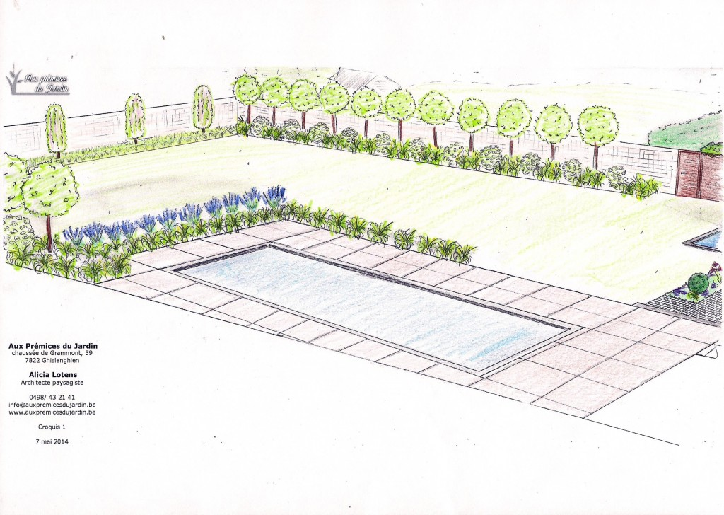 Aménagement jardin piscine terrasse bois