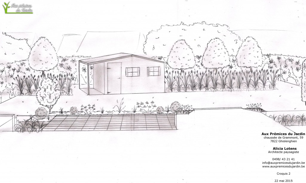 Aménagement jardin arrière abri de jardin aux prémices du jardin