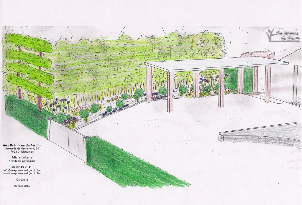 Carport Aux prémices du jardin plantations aménagement devanture
