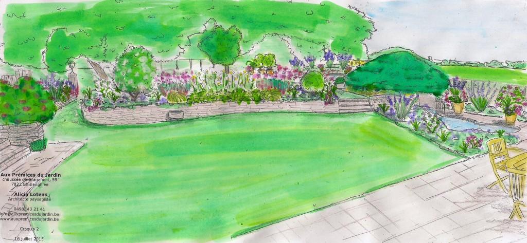 Aux prémices du jardin croquis jardin arrière muret en pierre bassin étang fleuri parfumé