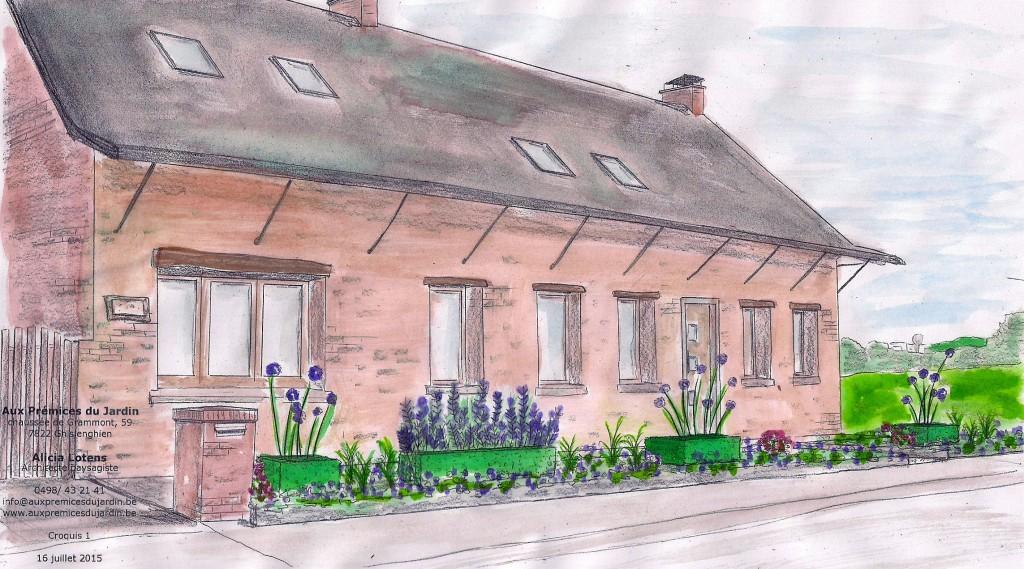 Aux prémices du jardin fermette aménagement parterre jardin façade avant
