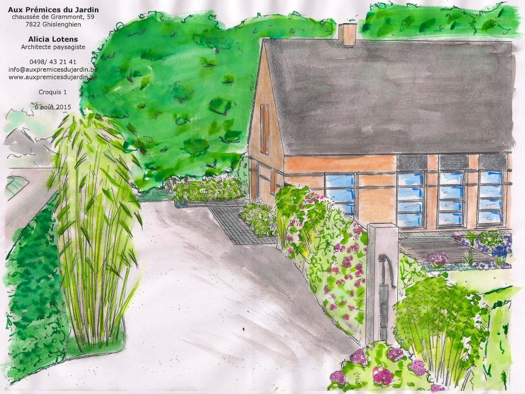 Allée de jardin entrée haie en mélange bambous aménagement Aux prémices du jardin