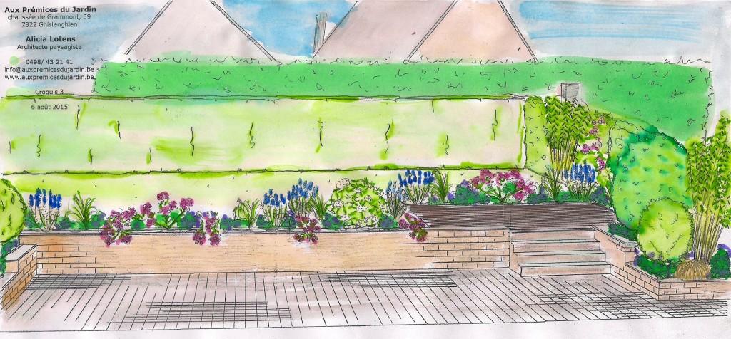 Aux prémices du jardin Aménagement terrasse bois parterre fleurs couleurs parfum
