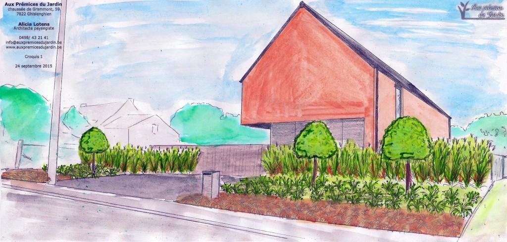 Aux prémices du jardin - architecte paysagiste - entrepreneur de jardin maison contemporaine - graminée - croquis