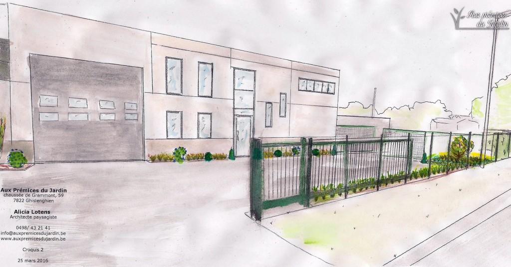 Aménagement bâtiment industriel, usine, zoning. Plantation, espaces vert, Aux prémices du jardin