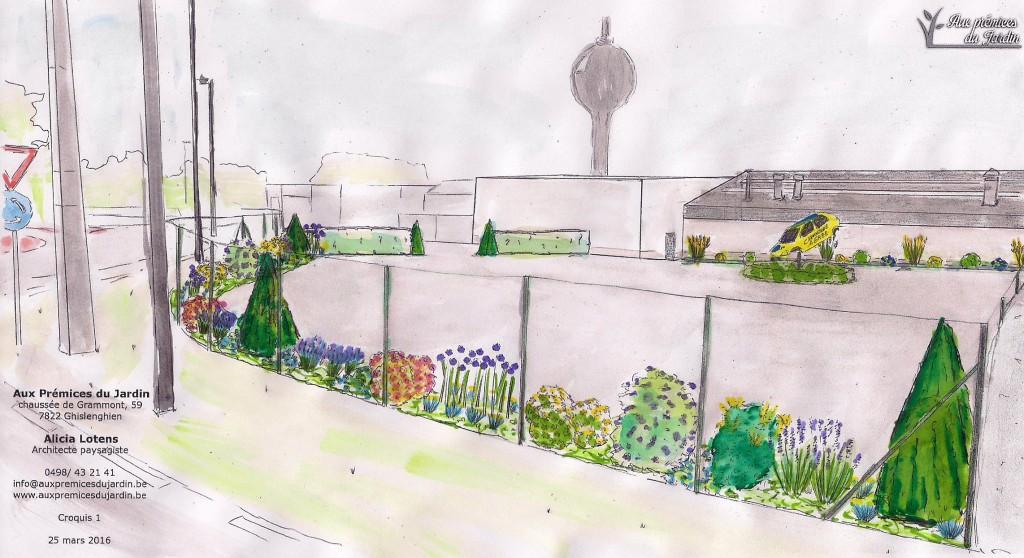 Croquis aménagement batiment industriel, usine, zoning. espaces verts, jardin Aux prémices du jardin