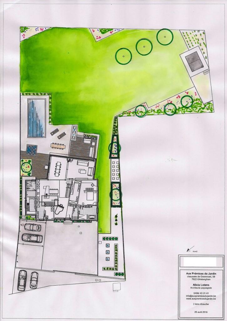 Esquisse aux prémices du jardin 1ère ébauche conception jardin contemporain nouvelle construction Tournai